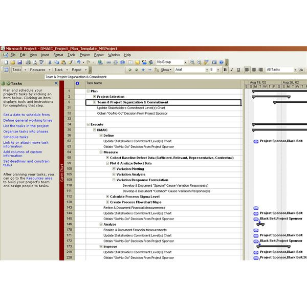 Review of Microsoft Project Software Program for Use in Six Sigma