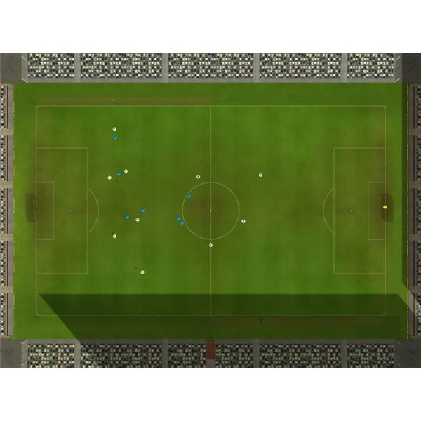 The top down match view in Championship Manager 2010 is useful for monitoring your formation.