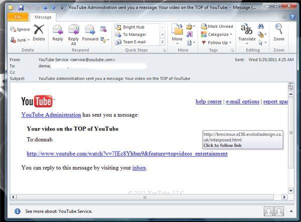 A Fraudulent YouTube E-mail