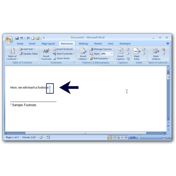 Inserting Footnotes and Using Footnote Options in Microsoft Word 2007
