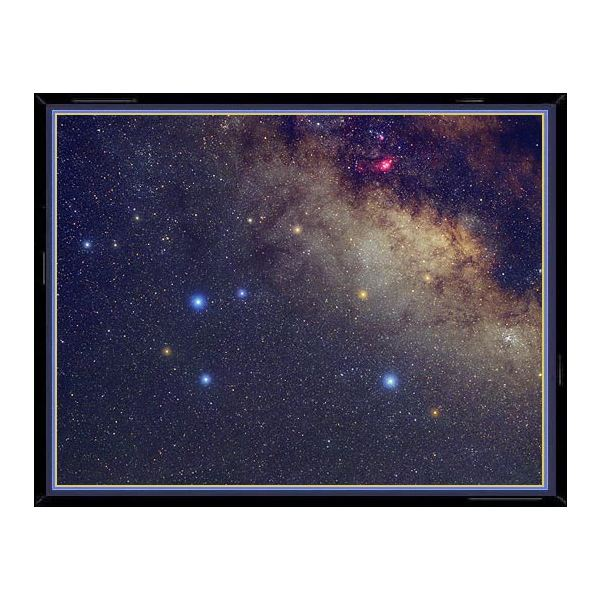 This photo of the constellation Sagittarius shows, enlarged in their true color, the main