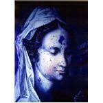 UV image of a part of Jan Muller's painting Madonna and Child, which is undergoing restoration - photo image detail courtesy of Valentine Walsh