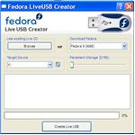 USB Fedora creator menu
