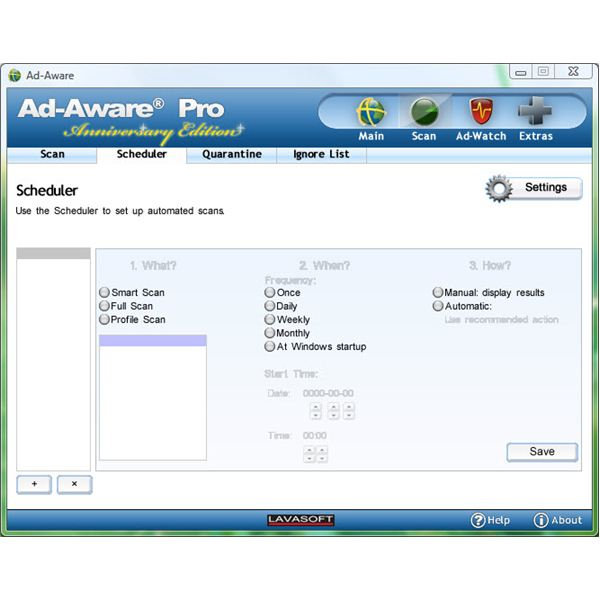 Scheduler in Ad-Aware Pro Anniversary Edition