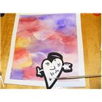 Paint white acrylic paint onto stamp
