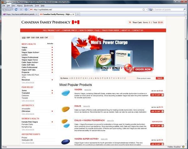 Fraudulent Canadian Pharmacy Webpage