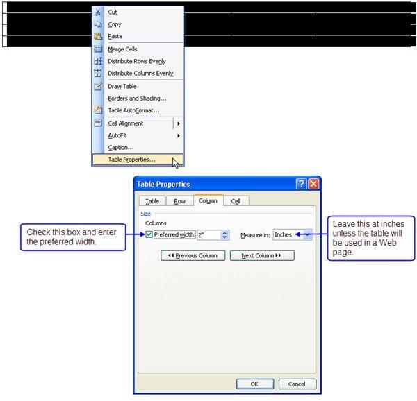 Adjust Column Width - Table Properties