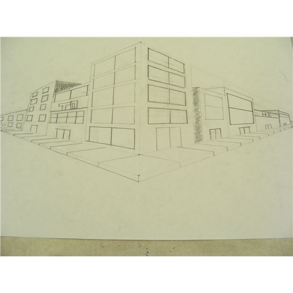 street scape with 2 point perspective