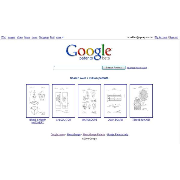 Google Patent search page