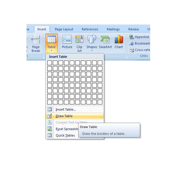 How To Draw A Custom Table In Microsoft Word 2007 A Look