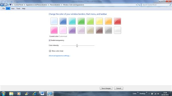 Customizing Windows Colors and Transparency