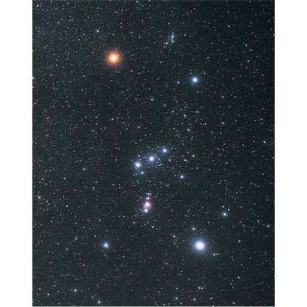 Wide angle view of the Orion constellation