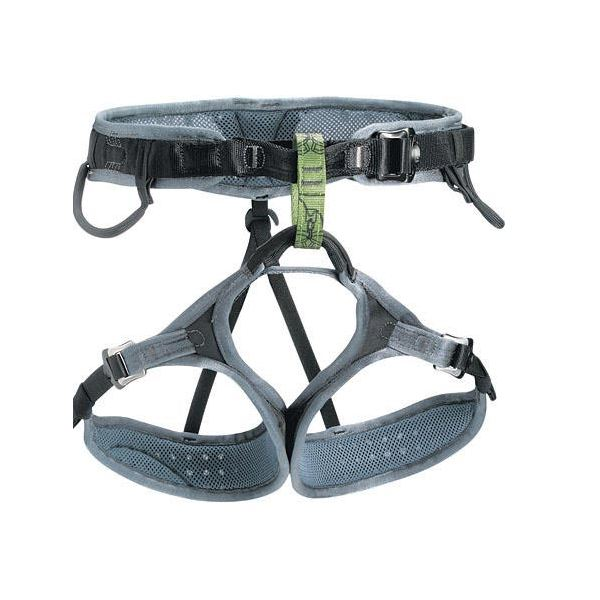 Climbing harnesses encircle your waist and thighs.