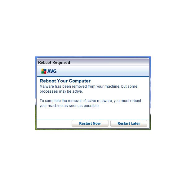 Reboot Prompt by AVG IDP to remove threat