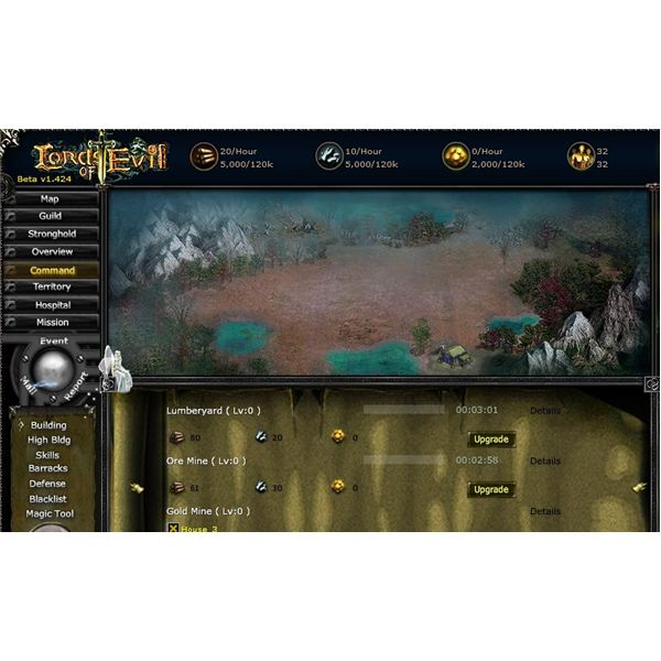 Lords of Evil User Interface Screenshot - free MMORPG
