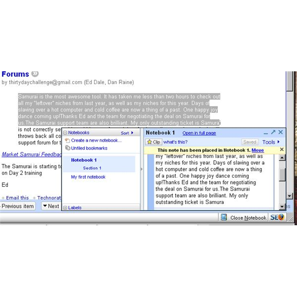 Step 2, captuing information with Google Notebook