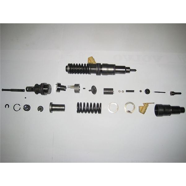 A fuel injector disassembled