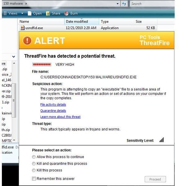 ThreatFire Blocks Malware Executable