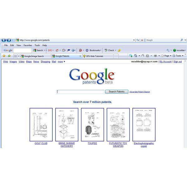 Google patents beta search page with thumbnails of patents