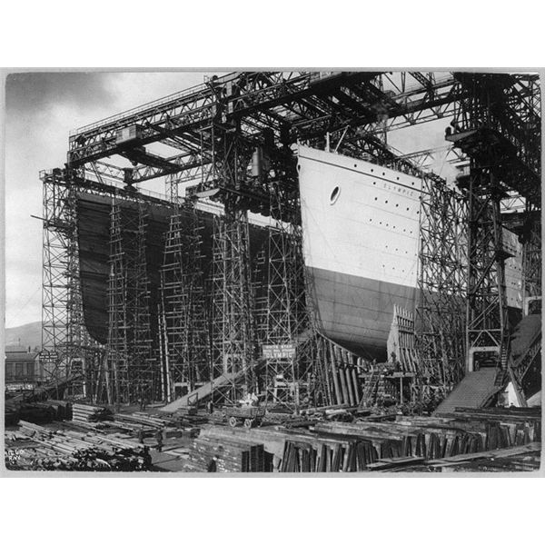 RMS Titanic and RMS Olympic on slips at Harland and Wolff Belfast from Wiki Commons