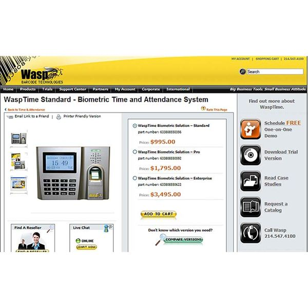 Wasp Time Biometric Employee Time Tracking