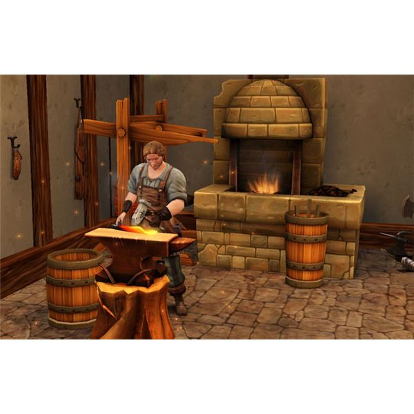 The Sims Medieval forging a Kingball paddle