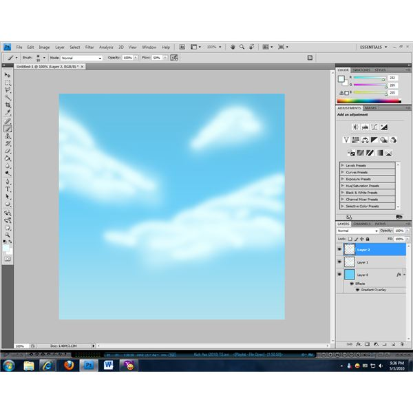 Use a smaller brush to add depth and definition to your clouds.