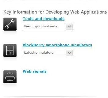 Blackberry Web Development Tools