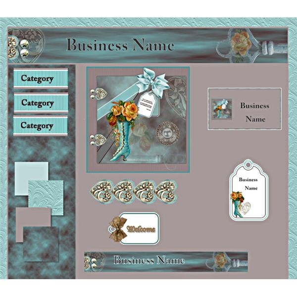 Webset Sample - Vintage Roses and Aqua Boot