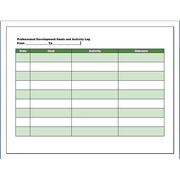 An Outstanding Professional Development Log Template Here