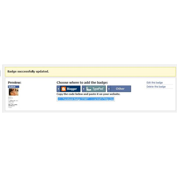 Identifying the HTML code for Facebook Badges