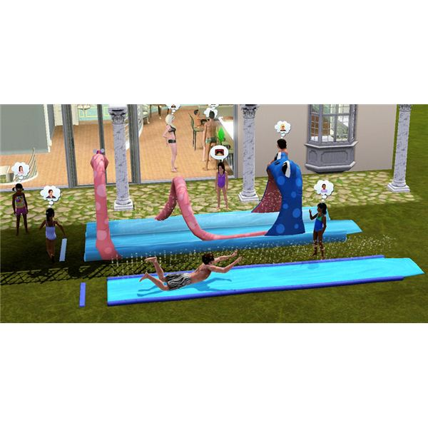 The Sims 3 water slides at a party