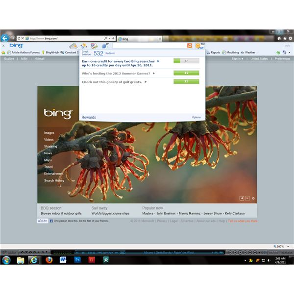 The Bing Rewards toolbar offers instant access to the rewards program.