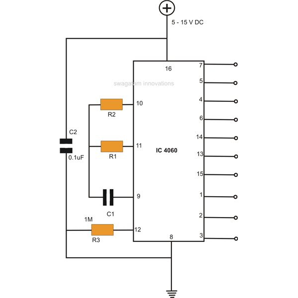 how to make interesting ic 4060 circuits rh brighthubengineering com power on reset circuit diagram reset pin circuit diagram