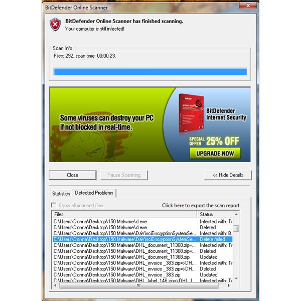 Detected Malware in a PC using BitDefender Online Virus Scan