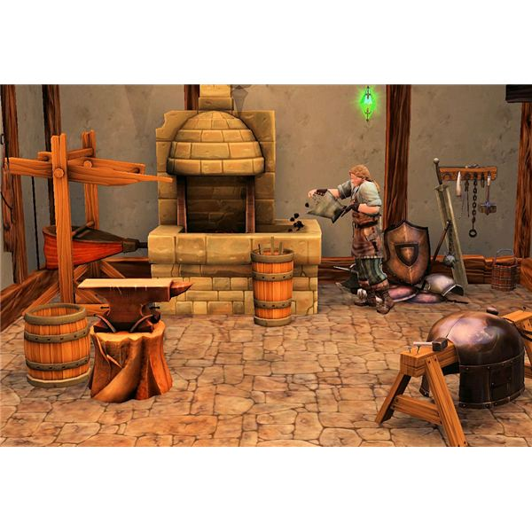 The Sims Medieval Blacksmith Working