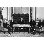 Woodrow Wilson and the American peace commissioners during the negotiations on the Treaty of Versailles; photo by Joseph45/Wikimedia Commons (public domain)