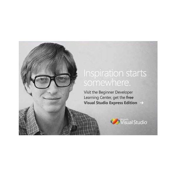 An image of the young Bill Gates is used to advertise Microsoft Visual Studio