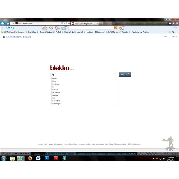 Blekko allows users to refine results through the use of slashtags.