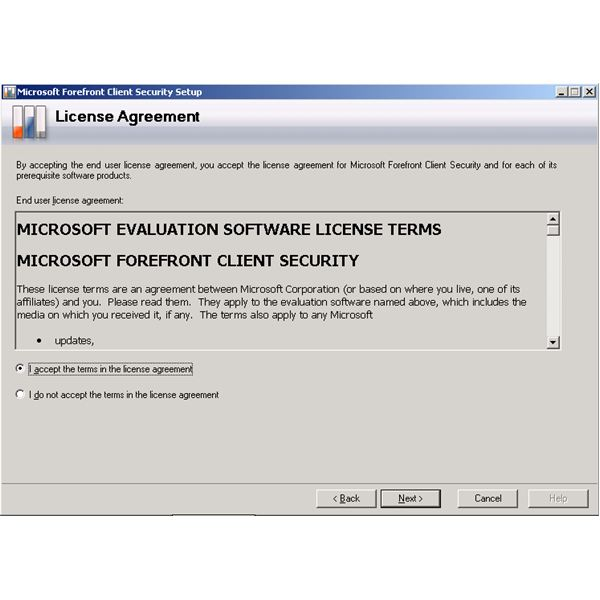 Forefront Client Security Installation Wizard - Licence Agreement