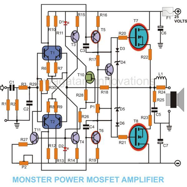 MOSFET Amplifier Circuit Diagram, Image