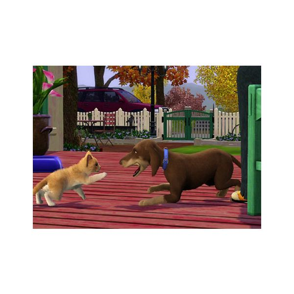 The Sims 3 dog and cat playing