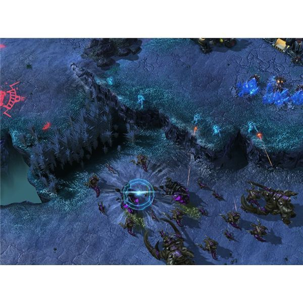 Starcraft 2 Ghost - Ghosts sniping Zerg units at choke point