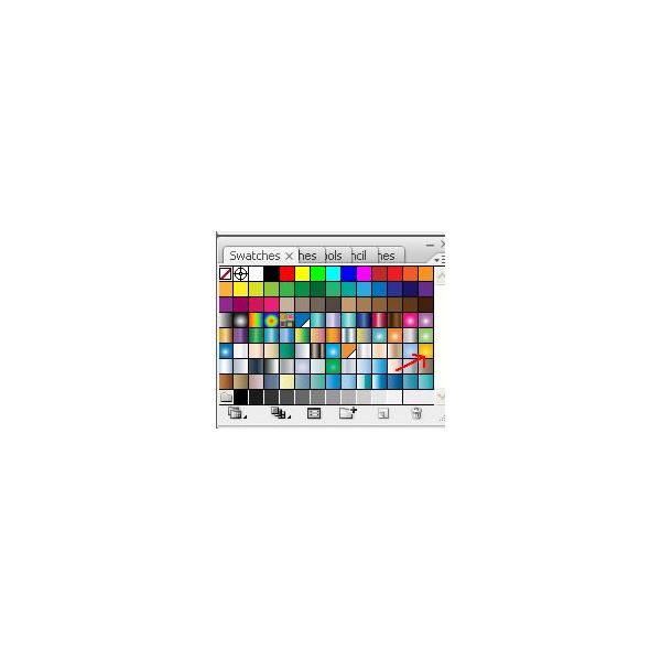 Adobe Illustrators CS3 Buttons - water blue and yellow buttons - swatches little rectangle