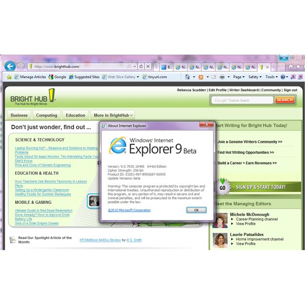 Bright Hub in IE9