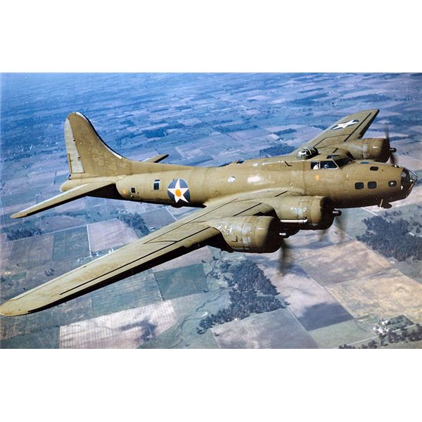 Color Photographed B-17E in Flight
