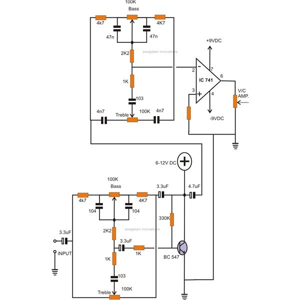 how to make tone controls for a stereo amplifieractive tone control circuit using ic and transistor stages in series,