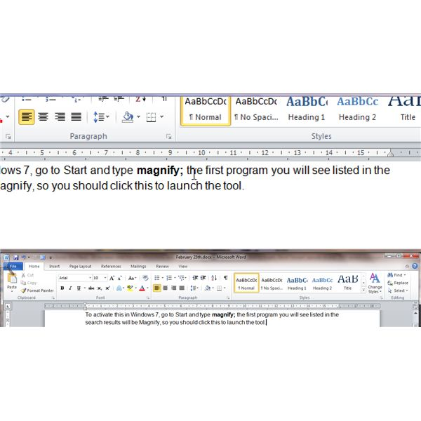 Working with Large Print in Ms Office 2010