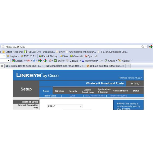 Linksys Basic Setup screen