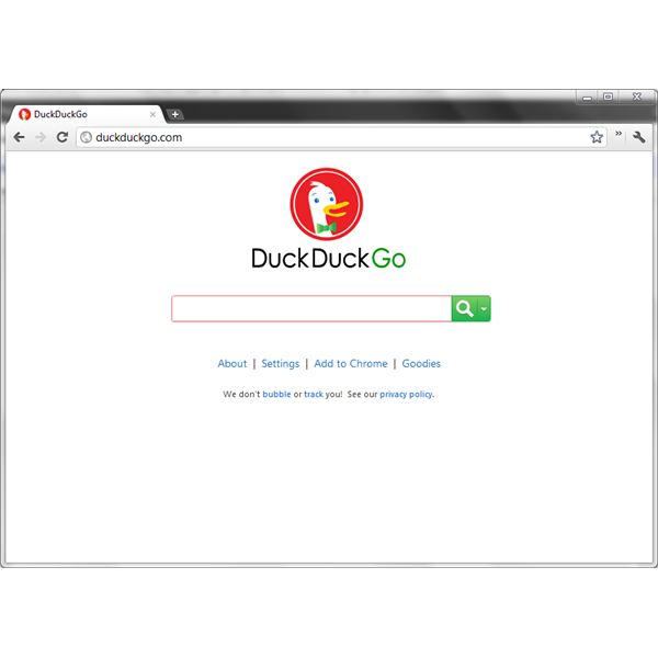DuckDuckGo's homepage is minimal, in the style of Google's homepage.